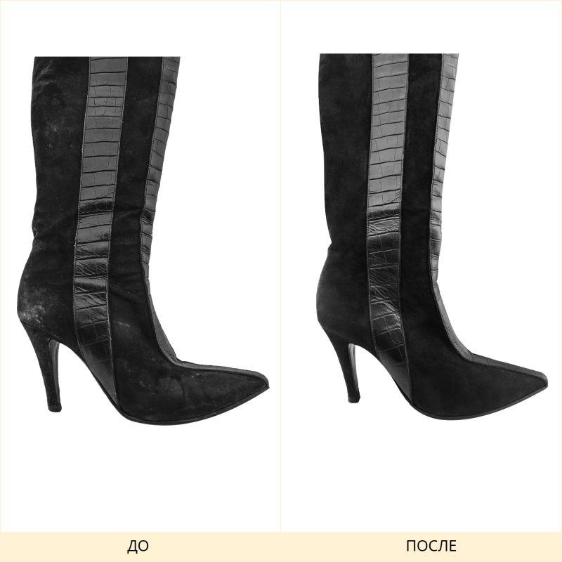 Фото химчистки женской обуви