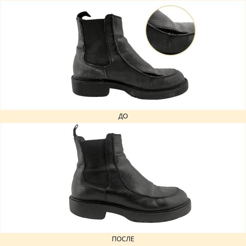 Фото до и после прошивки и полировки обуви