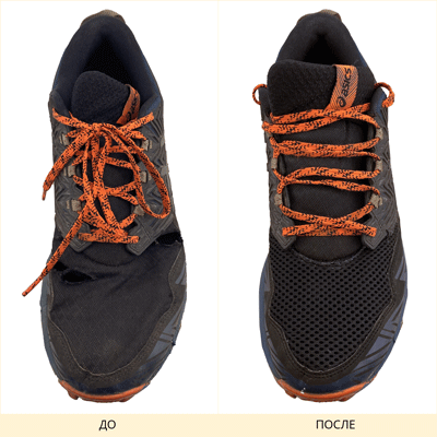 Фото замены сетки на кроссовках